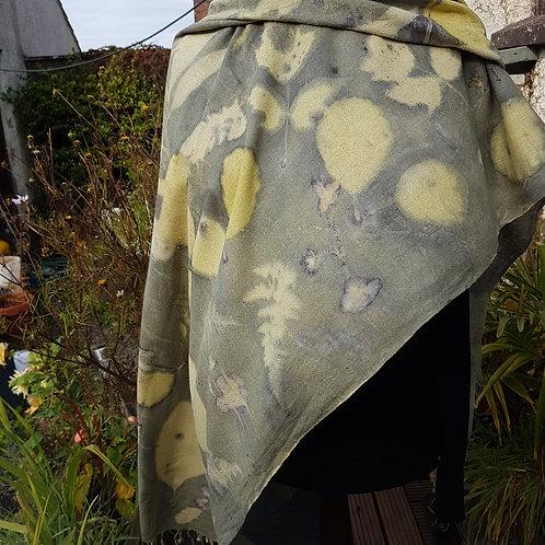 "Handwoven peace silk scarf ""Sage green & yellow"""