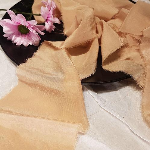 Cantaloupe hand dyed silk ribbon