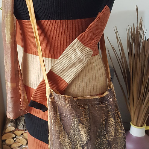 """""""Black Ferns"""" Cotton Sling bag Eco-printed"""