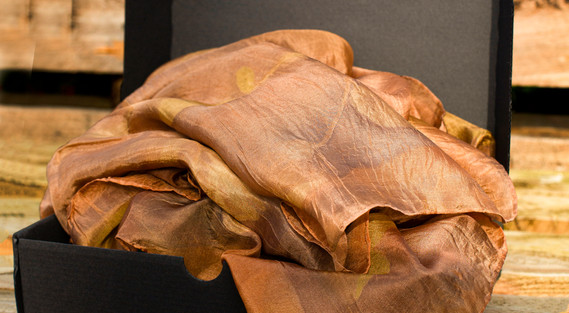 Rust & Gold Silk Shawl