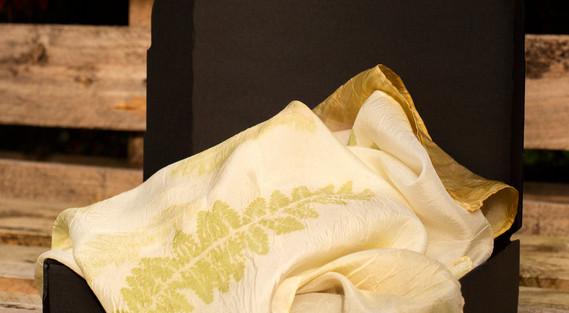Silk scarf printed with ferns