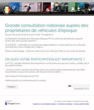 GRANDE CONSULTATION NATIONALE AUPRES DES PROPRIETAIRES DE VEHICULES D'EPOQUE