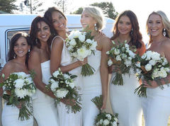 Bride with bridesmaids and VW Wedding Kombi