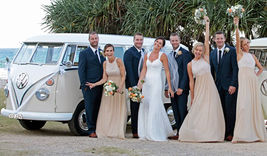 Wedding party with VW Kombi