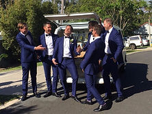 Grooms party with VW Wedding Kombi