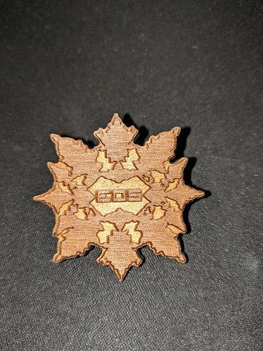 """Wooden Laser-cut Pin 1.5"""" Dark Stain"""