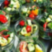 Spicy halloumi salad jars with home grow