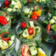 Spicy halloumi salad jars with home grow