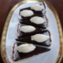 Salted caramel chocolate tart, vanilla m