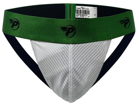 Sexy Backless Jockstrap Stretch White Green Band