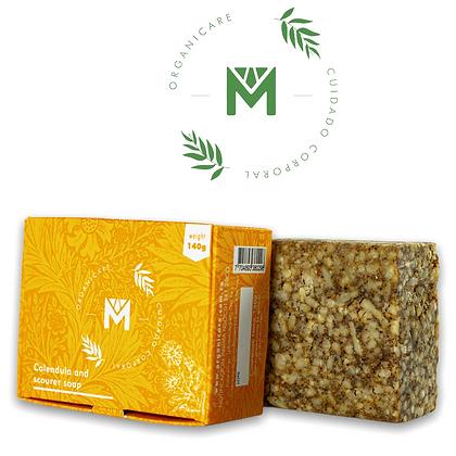 Organicare Calendula Scourer Estropajo Bar Soap Free of Parabens 4.93 oz