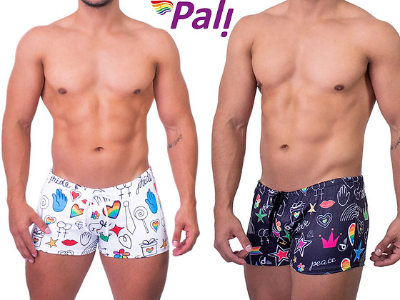 Men's Swimsuit Drawstring Candy Gay Pride Bathing Suit