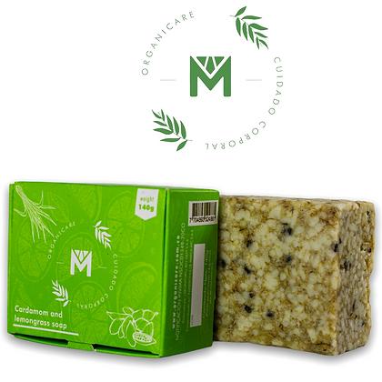 Organicare Lemongrass Cardamom Bar Soap Cleanses & Exfoliates No Parabens 4.93oz