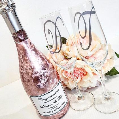 Bottle & Mr & Mrs Wine Glass