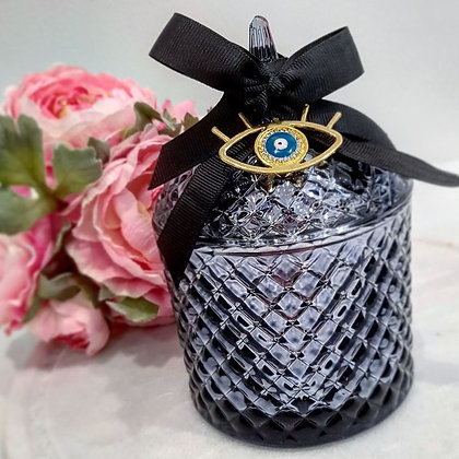Dome Metallic Black Tiffany Jar With Gold Evileye protection piece- Large