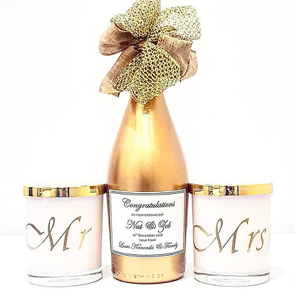 Personalised Wine Bottle & Mr & Mrs Candles