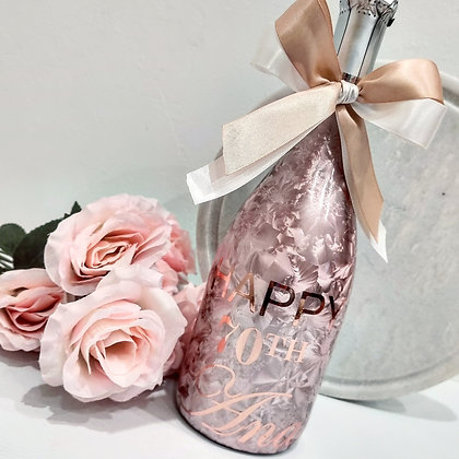Personalised Rose Gold Bottle with Vinyl Print
