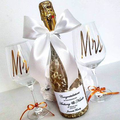 Personalised Gold Bottle with label