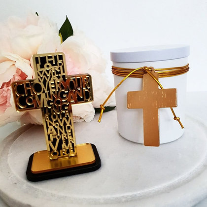 Gold Crusifix Easter Candle