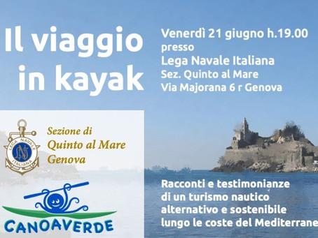 """""""Il viaggio in kayak"""" conferenza con presentazione della guida della costa ligure orientale"""