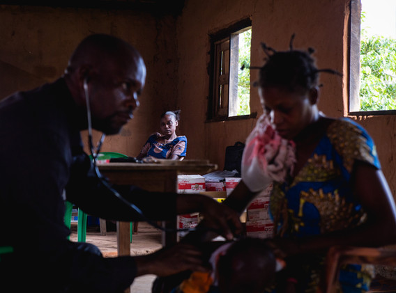 An MSF center near tshibala to detect cases of malnutrition in children.