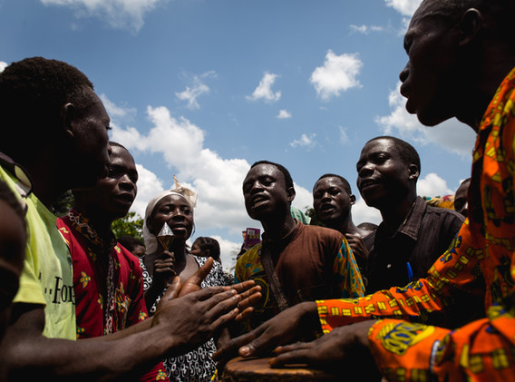In Lwemba, during a funeral, the men of the village gather and play music.