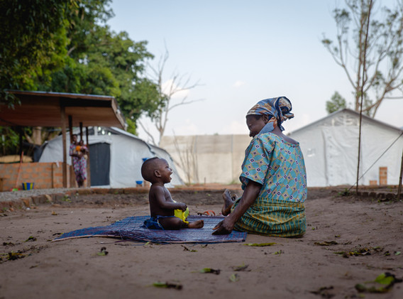 A mother and her son staying at the MSF base for a few days.