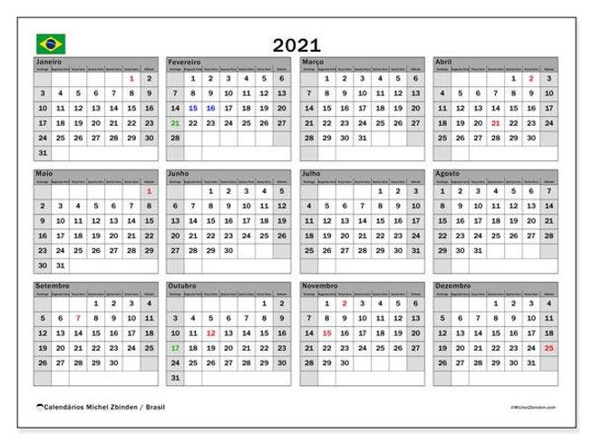"""Calendário """"Brasil"""" de 2021 para imprimi"""