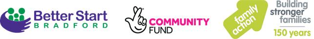 Better start Bradford logo, National Lottery Community Fund logo, Family Action logo