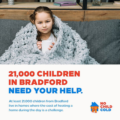girl in knitted blanket. 21000 children in Bradford need your help.