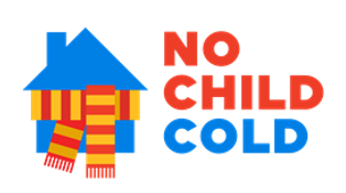 No child cold logo, blue house wearing red and yellow scarf