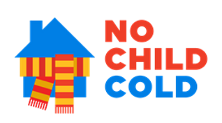 No child cold logo, blue house, wearing red and yellow scarf