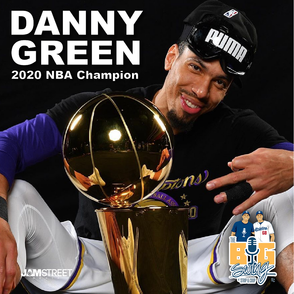 Los Angeles Laker Danny Green Holds 2020 NBA Finals Trophy