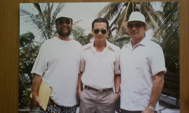 Johnny Depp and Joe Pistone on the set of Donnie Brasco