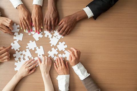Hands of multi-ethnic team assembling ji