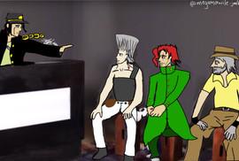 Rogerinho's Bizarre Adventure: Choque de Crusader - Essa arte aí é crossover, que chama. Eu relacionei os maiores nomes do transporte alternativo aos personagens de um anime, que se chama JoJo's Bizarre Adventure. O Rogerinho é o Jotaro porque é o protagonista, líder do grupo, permanentemente puto mas dá um sorrisinho quando falam de luta; o Maurílio é o Polnareff porque, coitado, só quer se integrar mas todo mundo tira uma com a cara dele; o Julinho é o Kakyoin porque zoa o Maurílio/Polnareff mais do que o resto e tem uma queda por um membro da família de alguém do grupo, além de nunca ter matado ninguém propositalmente; e o Renan é o Joseph porque é um pai meio atrapalhado e quase irresponsável, mas ama muito todos os seus filhotes - Nina de la Vega