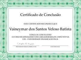 Meu certificado de aprovação em Jornalismo pela universidade do Prof Cerginho - Vcs são geniais, espero que o humor de vcs domine todo o Brasil. Forte abraço! Gean Leandro