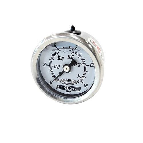 Pressure Gauge, 1 Bar (15 PSI), Liquid Filled