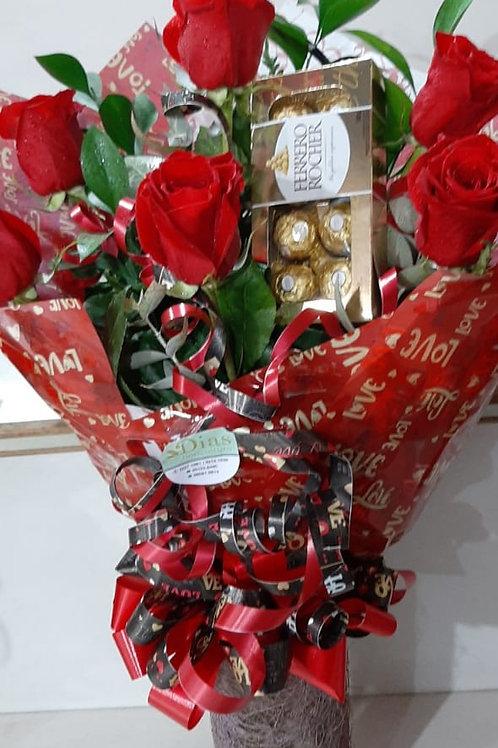 Buque com 6 rosas especiais e Ferrero Rocher