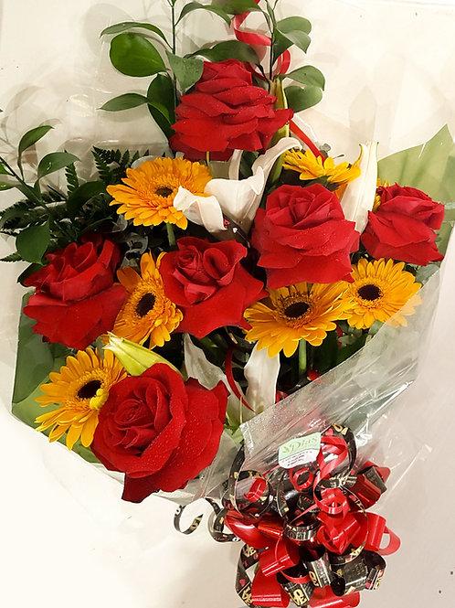 Buque de rosas e gerberas