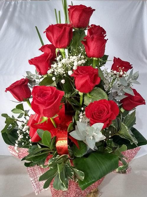 Arranjo 12 rosas vermelhas