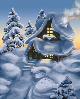 Winter Cottage 8x10 Print