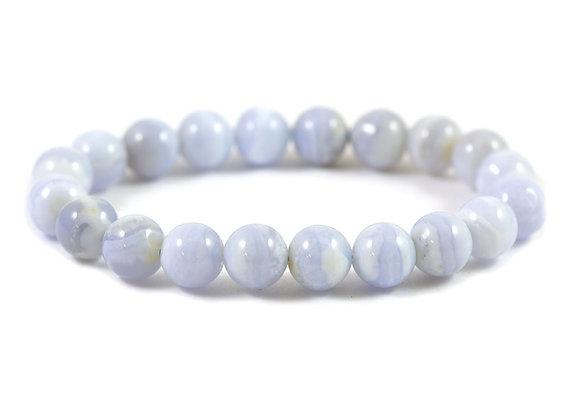 Bracelet Calcédoine bleue 10mm