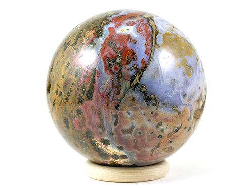 Sphère Jaspe orbiculaire - océan 100mm