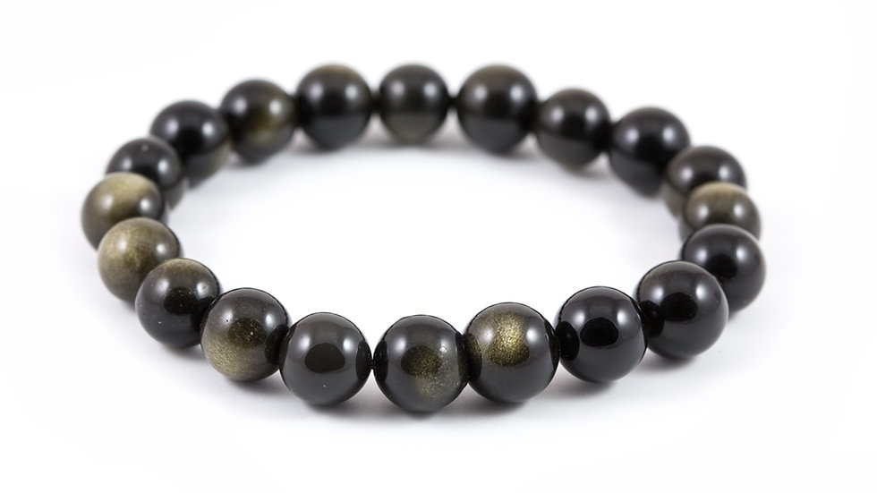 Bracelet Obsidienne dorée 10mm