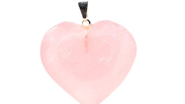 Pendentif Cœur Quartz Rose