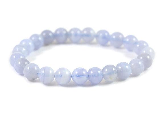 Bracelet Calcédoine bleue 8mm