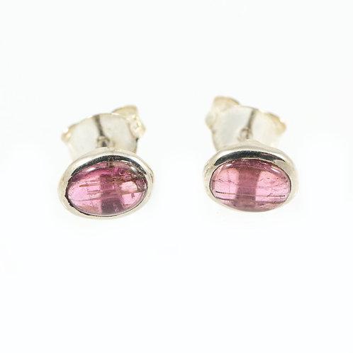 Boucles d'oreilles puces Tourmaline rose