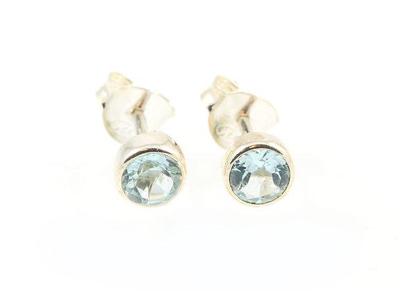 Boucles d'oreilles puces 6mm Topaze bleue