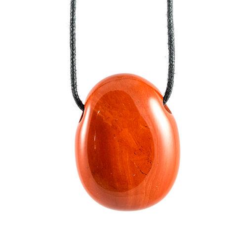 Pendentif pierre percée Jaspe rouge